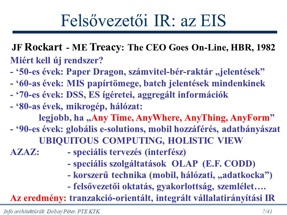 Info architektúrák Dobay Péter, PTE KTK 7/41 Felsővezetői IR: az EIS JF Rockart - ME Treacy : The CEO Goes On-Line, HBR, 1982 Miért kell új rendszer?