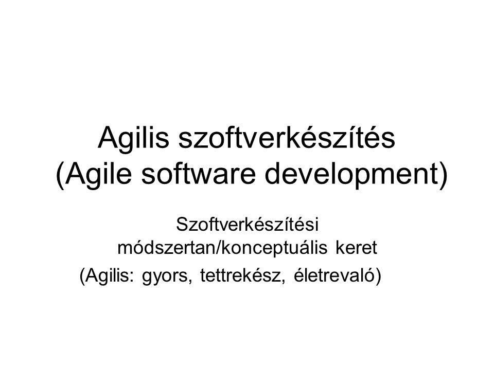 Agilis szoftverkészítés (Agile software development) Szoftverkészítési módszertan/konceptuális keret (Agilis: gyors, tettrekész, életrevaló)