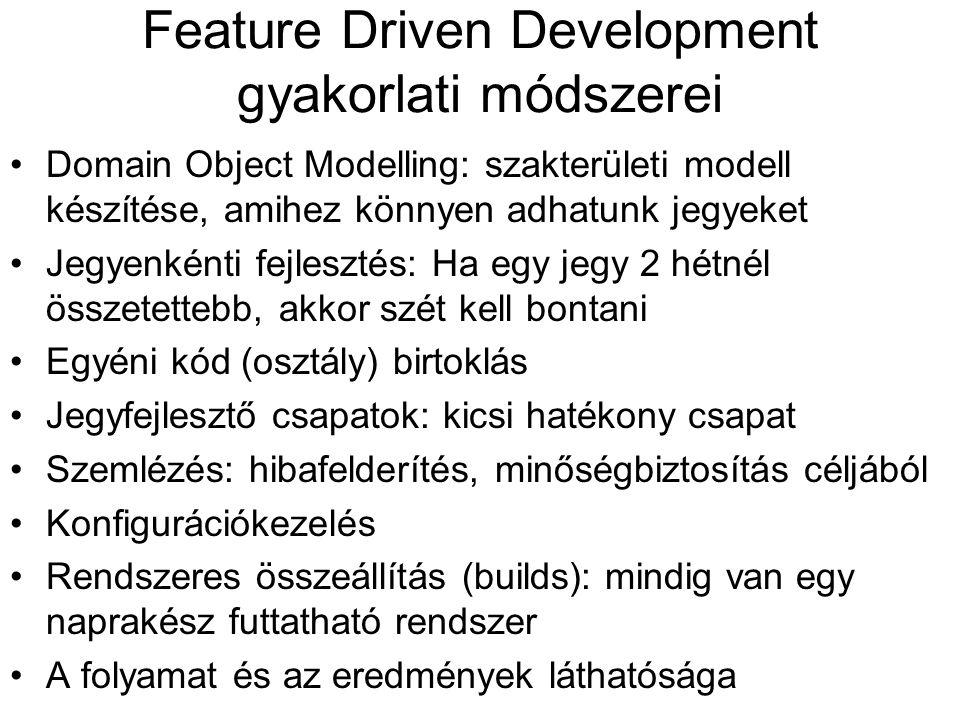 Feature Driven Development gyakorlati módszerei Domain Object Modelling: szakterületi modell készítése, amihez könnyen adhatunk jegyeket Jegyenkénti fejlesztés: Ha egy jegy 2 hétnél összetettebb, akkor szét kell bontani Egyéni kód (osztály) birtoklás Jegyfejlesztő csapatok: kicsi hatékony csapat Szemlézés: hibafelderítés, minőségbiztosítás céljából Konfigurációkezelés Rendszeres összeállítás (builds): mindig van egy naprakész futtatható rendszer A folyamat és az eredmények láthatósága
