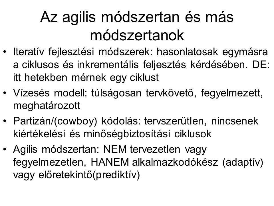 Az agilis módszertan és más módszertanok Iteratív fejlesztési módszerek: hasonlatosak egymásra a ciklusos és inkrementális feljesztés kérdésében.