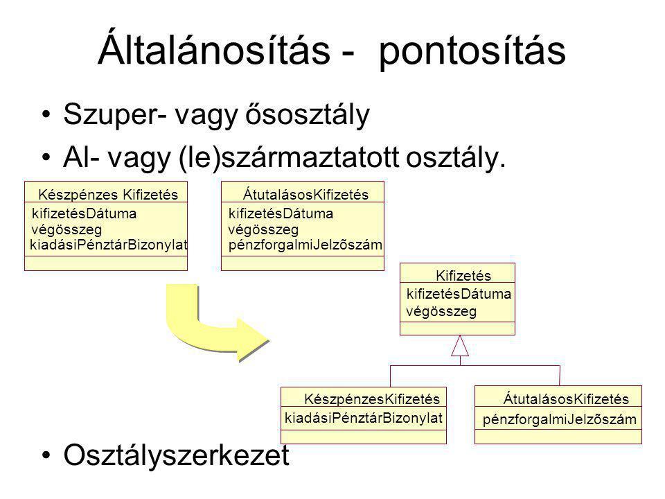 Általánosítás - pontosítás Szuper- vagy ősosztály Al- vagy (le)származtatott osztály.