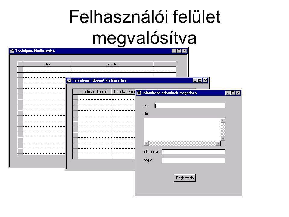 Felhasználói felület megvalósítva