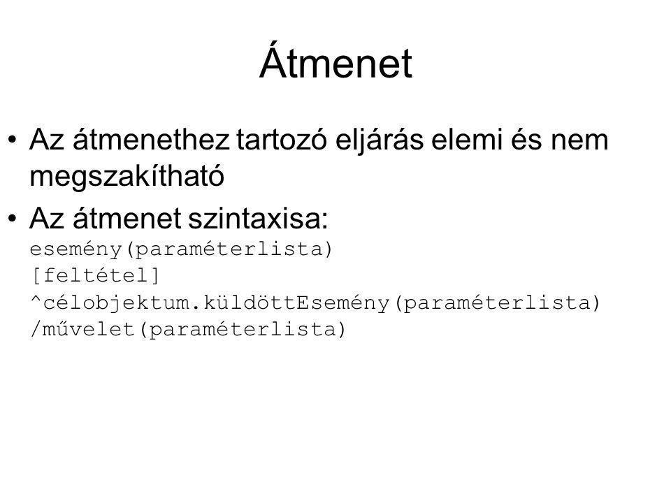 Átmenet Az átmenethez tartozó eljárás elemi és nem megszakítható Az átmenet szintaxisa: esemény(paraméterlista) [feltétel] ^célobjektum.küldöttEsemény(paraméterlista) /művelet(paraméterlista)