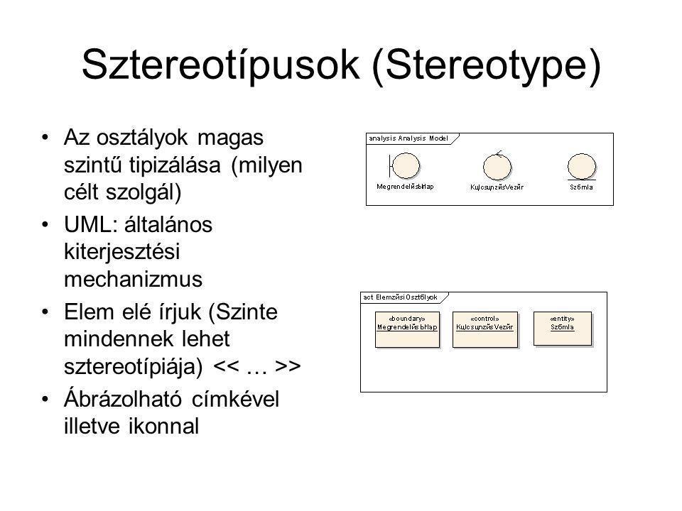 Sztereotípusok (Stereotype) Az osztályok magas szintű tipizálása (milyen célt szolgál) UML: általános kiterjesztési mechanizmus Elem elé írjuk (Szinte mindennek lehet sztereotípiája) > Ábrázolható címkével illetve ikonnal