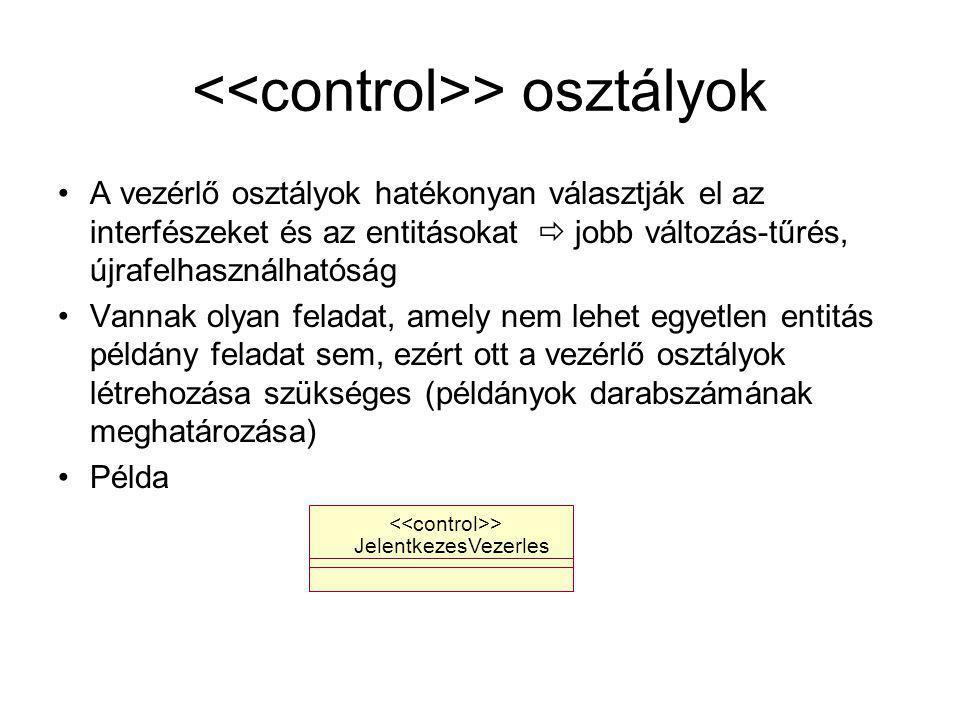 > osztályok A vezérlő osztályok hatékonyan választják el az interfészeket és az entitásokat  jobb változás-tűrés, újrafelhasználhatóság Vannak olyan feladat, amely nem lehet egyetlen entitás példány feladat sem, ezért ott a vezérlő osztályok létrehozása szükséges (példányok darabszámának meghatározása) Példa JelentkezesVezerles >