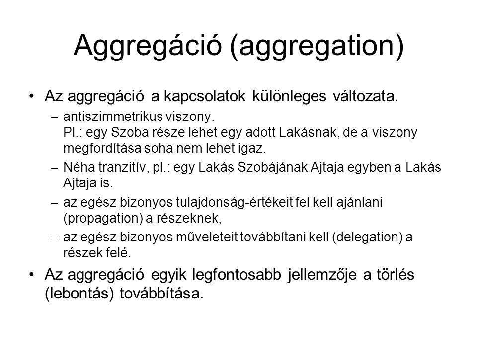 Aggregáció (aggregation) Az aggregáció a kapcsolatok különleges változata.
