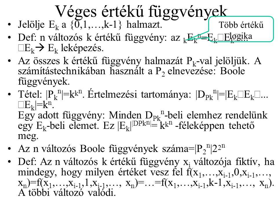 Véges értékű függvények Jelölje E k a {0,1,…,k-1} halmazt.