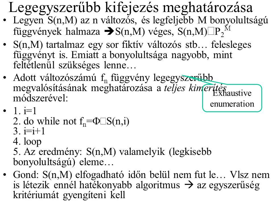Legegyszerűbb kifejezés meghatározása Legyen S(n,M) az n változós, és legfeljebb M bonyolultságú függvények halmaza  S(n,M) véges, S(n,M)  P 2 M S(n,M) tartalmaz egy sor fiktív változós stb… felesleges függvényt is.