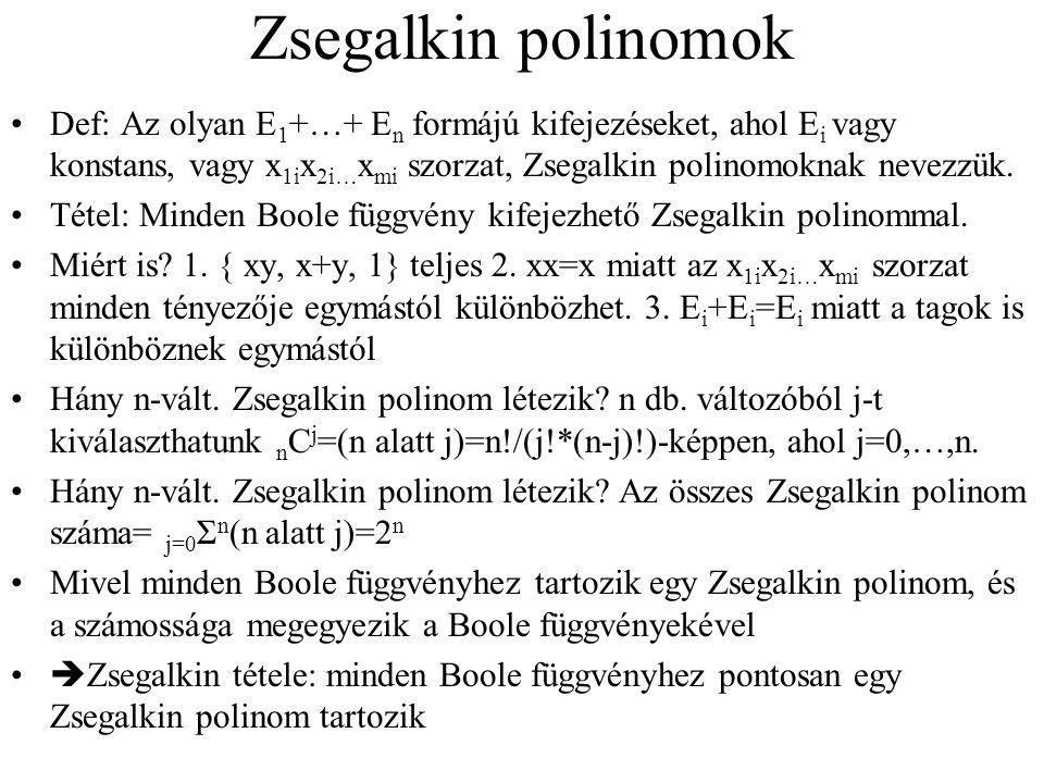 Zsegalkin polinomok Def: Az olyan E 1 +…+ E n formájú kifejezéseket, ahol E i vagy konstans, vagy x 1i x 2i… x mi szorzat, Zsegalkin polinomoknak nevezzük.