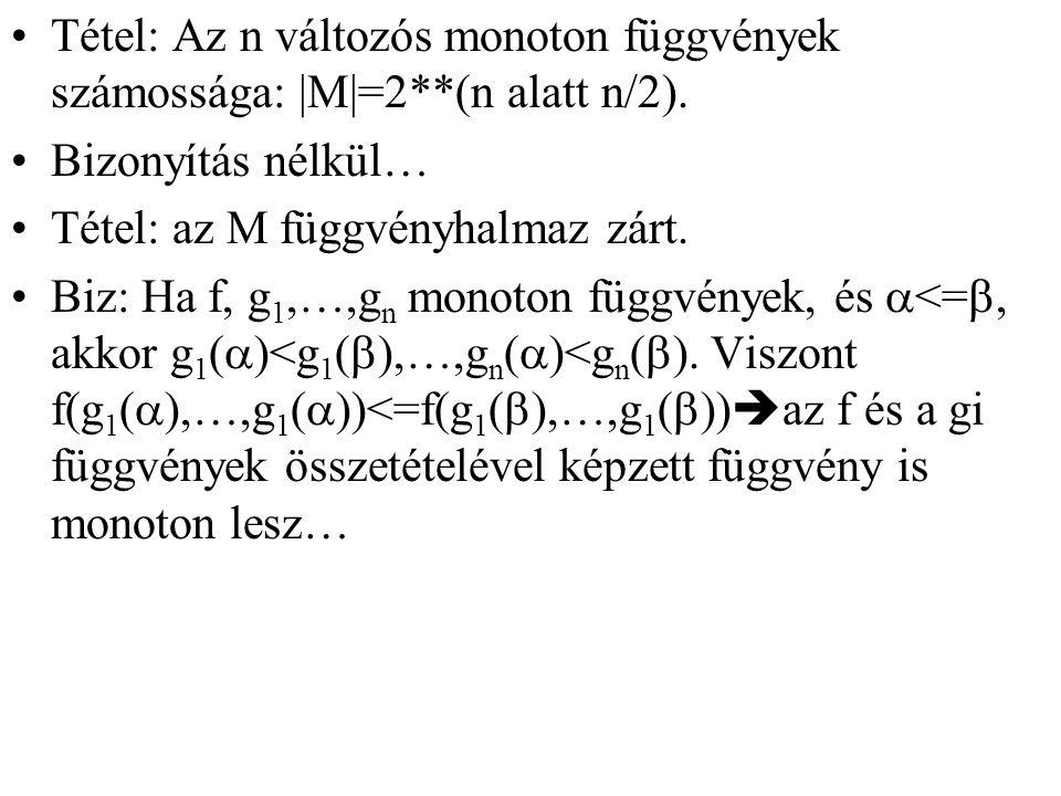 Tétel: Az n változós monoton függvények számossága: |M|=2**(n alatt n/2).