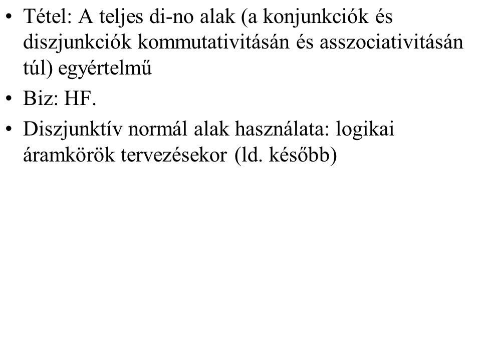 Tétel: A teljes di-no alak (a konjunkciók és diszjunkciók kommutativitásán és asszociativitásán túl) egyértelmű Biz: HF.