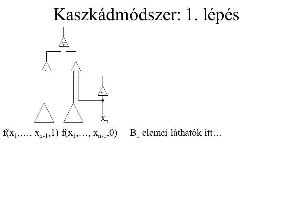 Kaszkádmódszer: 1. lépés v.. ~ xnxn f(x 1,…, x n-1,1)f(x 1,…, x n-1,0)B 1 elemei láthatók itt…