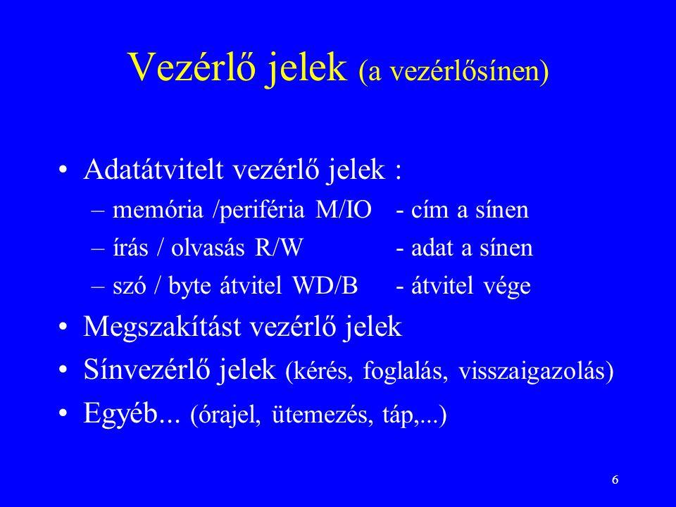 6 Vezérlő jelek (a vezérlősínen) Adatátvitelt vezérlő jelek : –memória /periféria M/IO- cím a sínen –írás / olvasás R/W- adat a sínen –szó / byte átvi