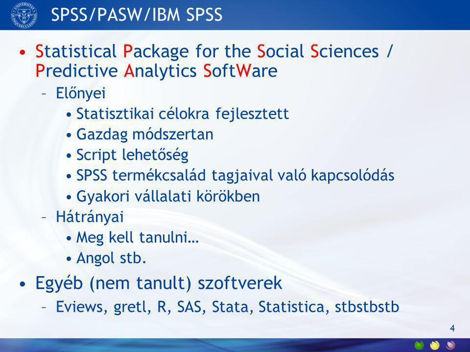 SPSS/PASW/IBM SPSS Statistical Package for the Social Sciences / Predictive Analytics SoftWare –Előnyei Statisztikai célokra fejlesztett Gazdag módsze