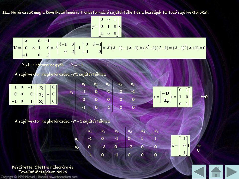 Készítette: Stettner Eleonóra és Teveliné Matejdesz Anikó III. Határozzuk meg a következő lineáris transzformáció sajátértékeit és a hozzájuk tartozó