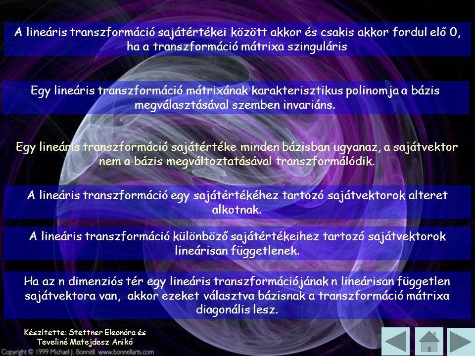 Készítette: Stettner Eleonóra és Teveliné Matejdesz Anikó A lineáris transzformáció sajátértékei között akkor és csakis akkor fordul elő 0, ha a trans