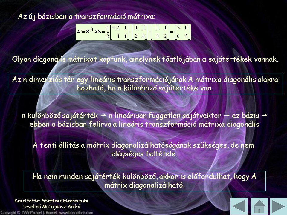Készítette: Stettner Eleonóra és Teveliné Matejdesz Anikó Az új bázisban a transzformáció mátrixa: Olyan diagonális mátrixot kaptunk, amelynek főátlójában a sajátértékek vannak.