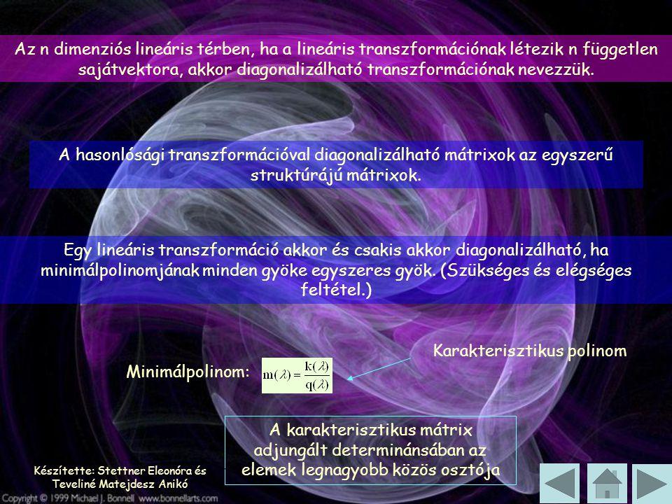 Készítette: Stettner Eleonóra és Teveliné Matejdesz Anikó Az n dimenziós lineáris térben, ha a lineáris transzformációnak létezik n független sajátvektora, akkor diagonalizálható transzformációnak nevezzük.