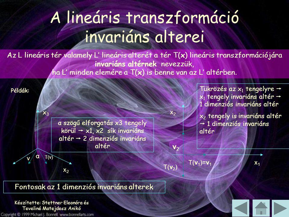 Készítette: Stettner Eleonóra és Teveliné Matejdesz Anikó Az L lineáris tér valamely L' lineáris alterét a tér T(x) lineáris transzformációjára invari