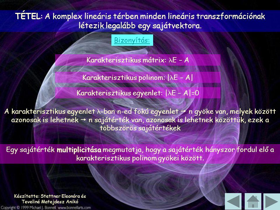 Készítette: Stettner Eleonóra és Teveliné Matejdesz Anikó TÉTEL: A komplex lineáris térben minden lineáris transzformációnak létezik legalább egy sajátvektora.