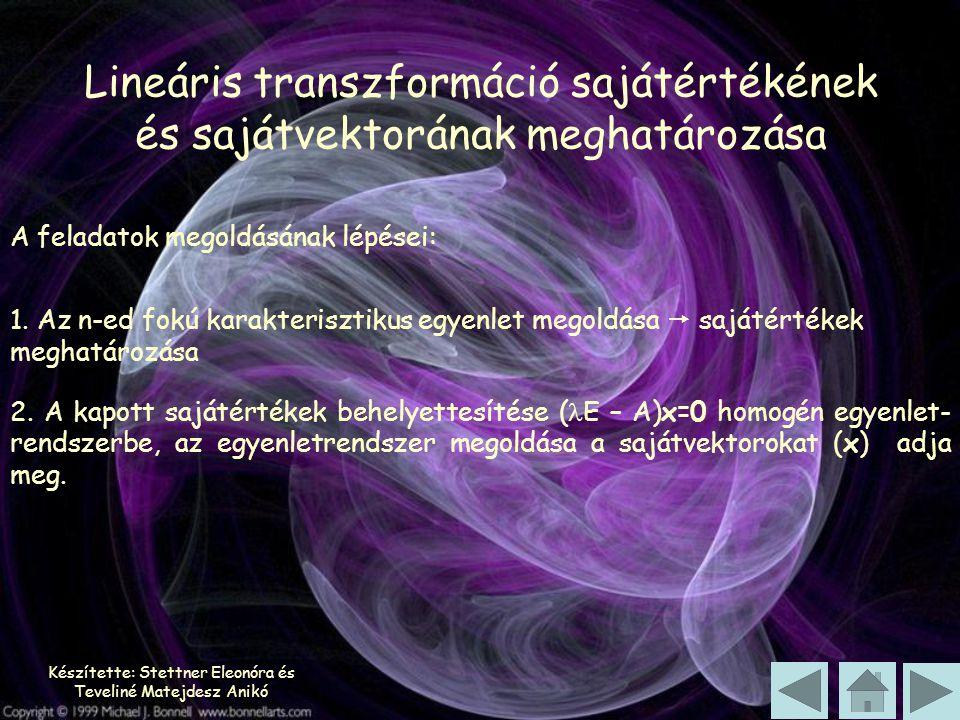 Készítette: Stettner Eleonóra és Teveliné Matejdesz Anikó 1. Az n-ed fokú karakterisztikus egyenlet megoldása  sajátértékek meghatározása A feladatok