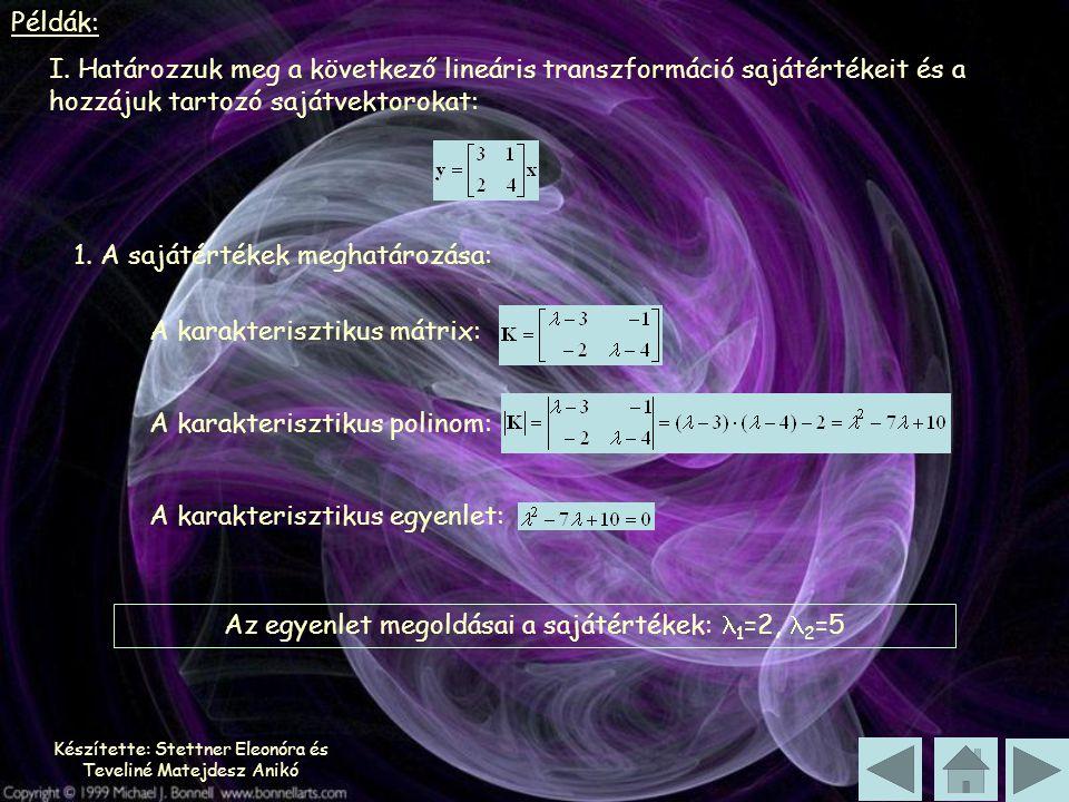 Készítette: Stettner Eleonóra és Teveliné Matejdesz Anikó Példák: I. Határozzuk meg a következő lineáris transzformáció sajátértékeit és a hozzájuk ta