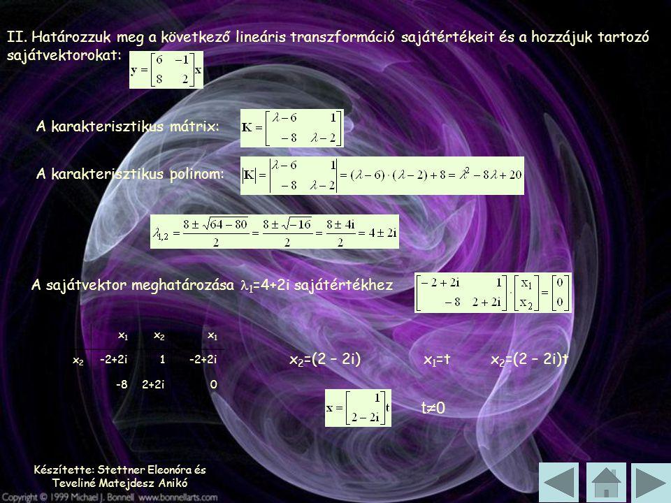 Készítette: Stettner Eleonóra és Teveliné Matejdesz Anikó II. Határozzuk meg a következő lineáris transzformáció sajátértékeit és a hozzájuk tartozó s