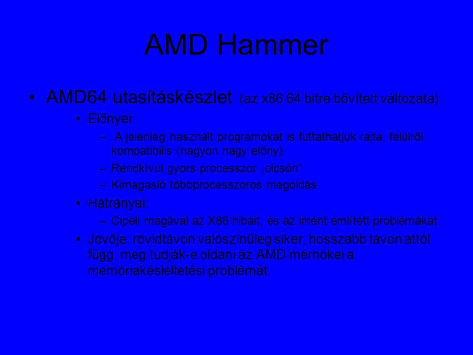 """AMD Hammer AMD64 utasításkészlet (az x86 64 bitre bővített változata) Előnyei: – A jelenleg használt programokat is futtathatjuk rajta, felülről kompatibilis (nagyon nagy előny) –Rendkívül gyors processzor """"olcsón –Kimagasló többprocesszoros megoldás Hátrányai: –Cipeli magával az X86 hibáit, és az imént említett problémákat."""