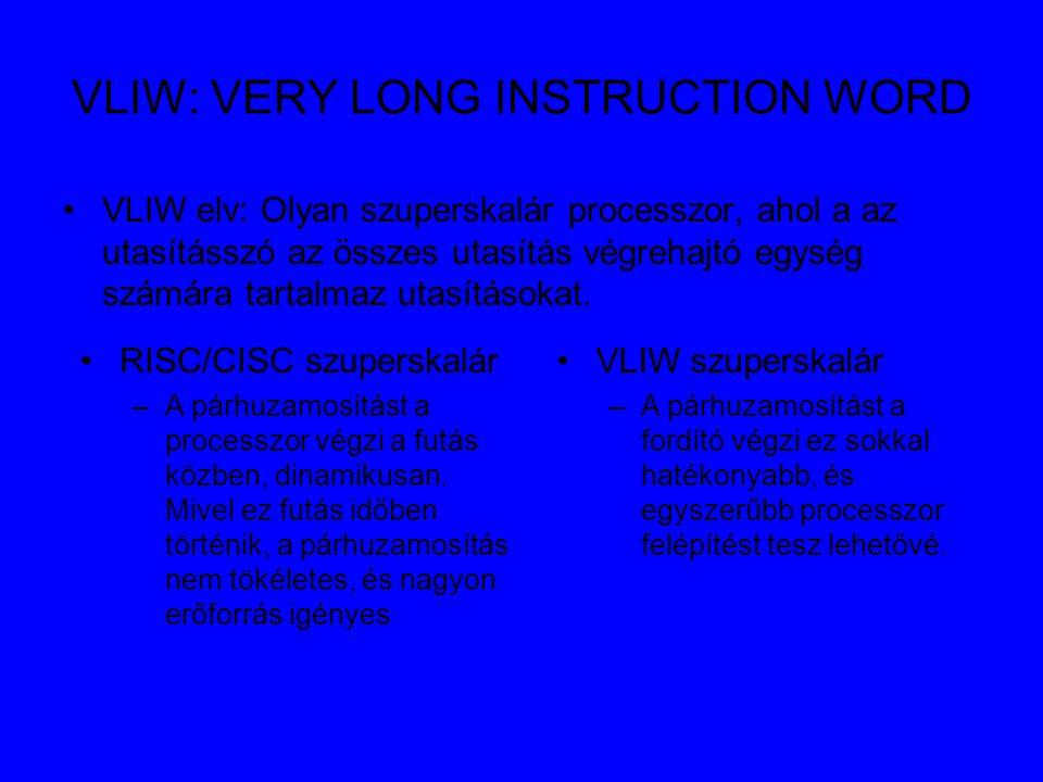 VLIW: VERY LONG INSTRUCTION WORD VLIW elv: Olyan szuperskalár processzor, ahol a az utasításszó az összes utasítás végrehajtó egység számára tartalmaz utasításokat.