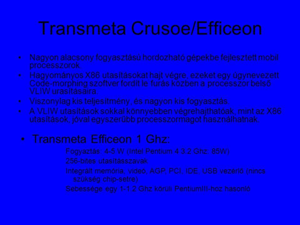 Transmeta Crusoe/Efficeon Nagyon alacsony fogyasztású hordozható gépekbe fejlesztett mobil processzorok.