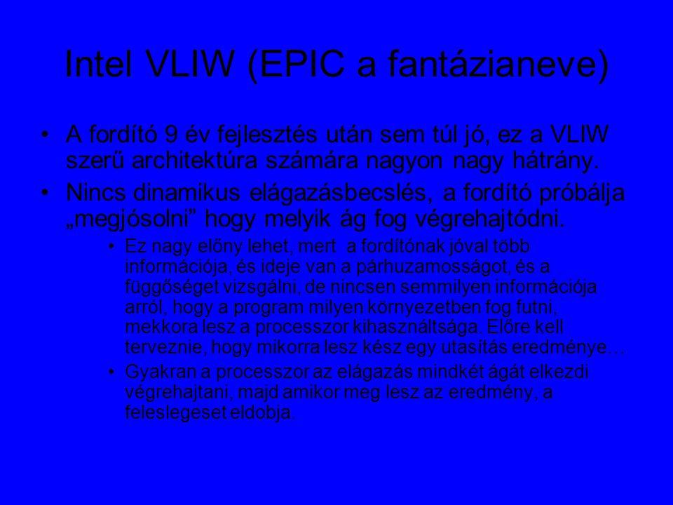 Intel VLIW (EPIC a fantázianeve) A fordító 9 év fejlesztés után sem túl jó, ez a VLIW szerű architektúra számára nagyon nagy hátrány.