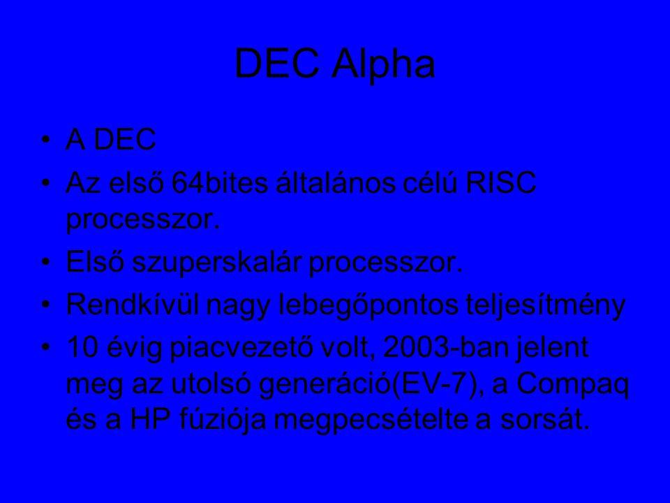 DEC Alpha A DEC Az első 64bites általános célú RISC processzor.