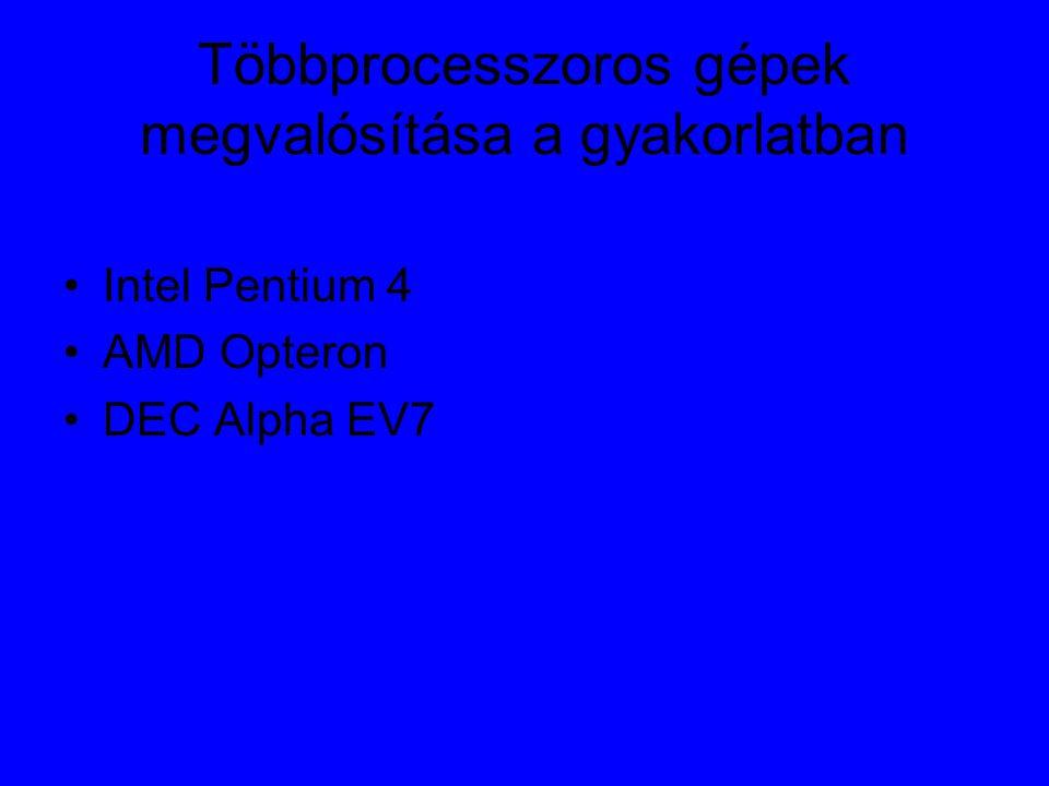 Többprocesszoros gépek megvalósítása a gyakorlatban Intel Pentium 4 AMD Opteron DEC Alpha EV7