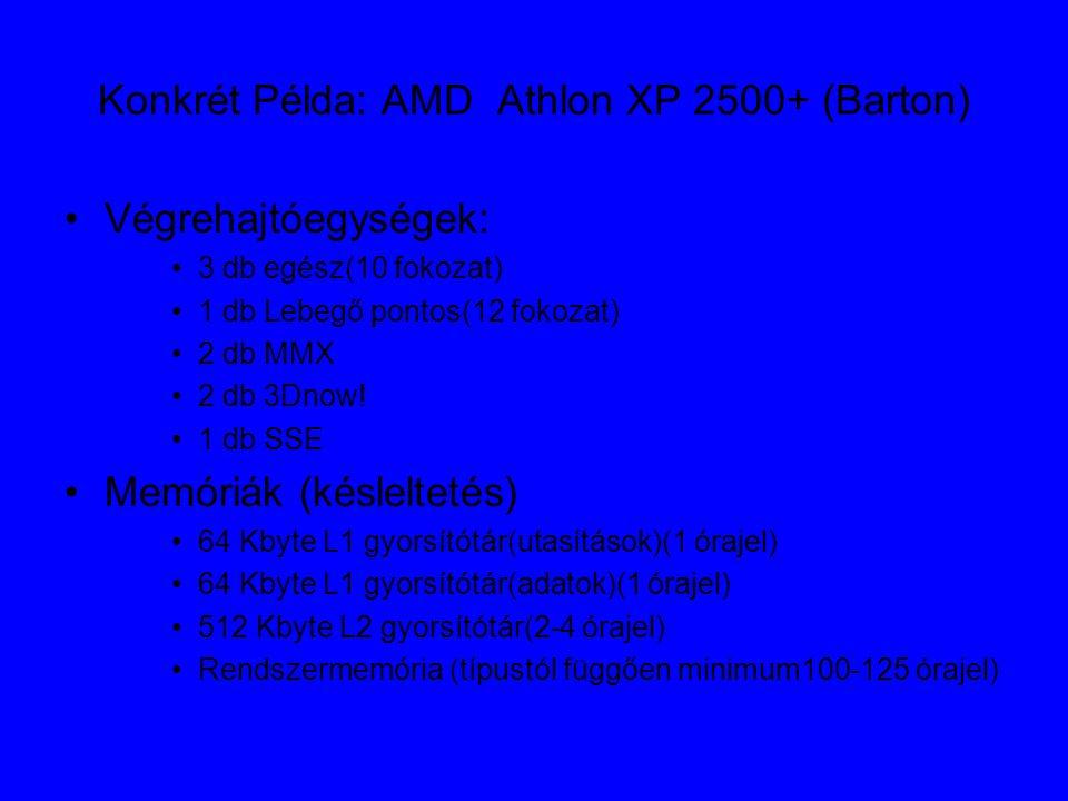 Konkrét Példa: AMD Athlon XP 2500+ (Barton) Végrehajtóegységek: 3 db egész(10 fokozat) 1 db Lebegő pontos(12 fokozat) 2 db MMX 2 db 3Dnow.