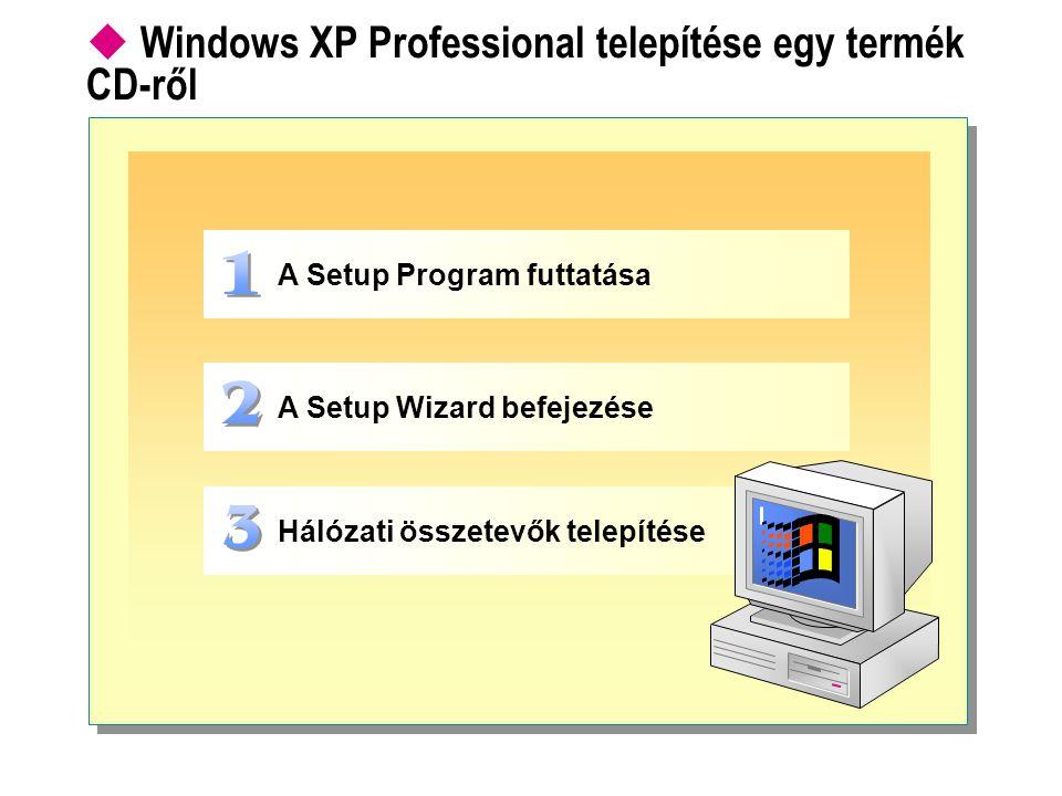 Windows XP Professional telepítése egy termék CD-ről A Setup Program futtatása A Setup Wizard befejezése Hálózati összetevők telepítése