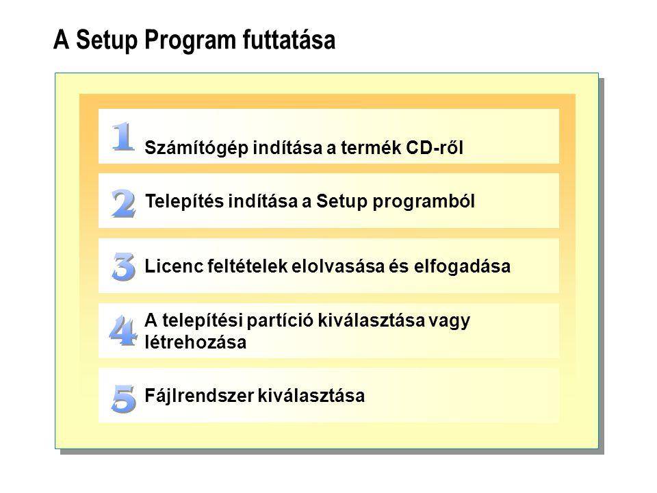 A Setup Program futtatása Számítógép indítása a termék CD-ről Telepítés indítása a Setup programból Licenc feltételek elolvasása és elfogadása A telep