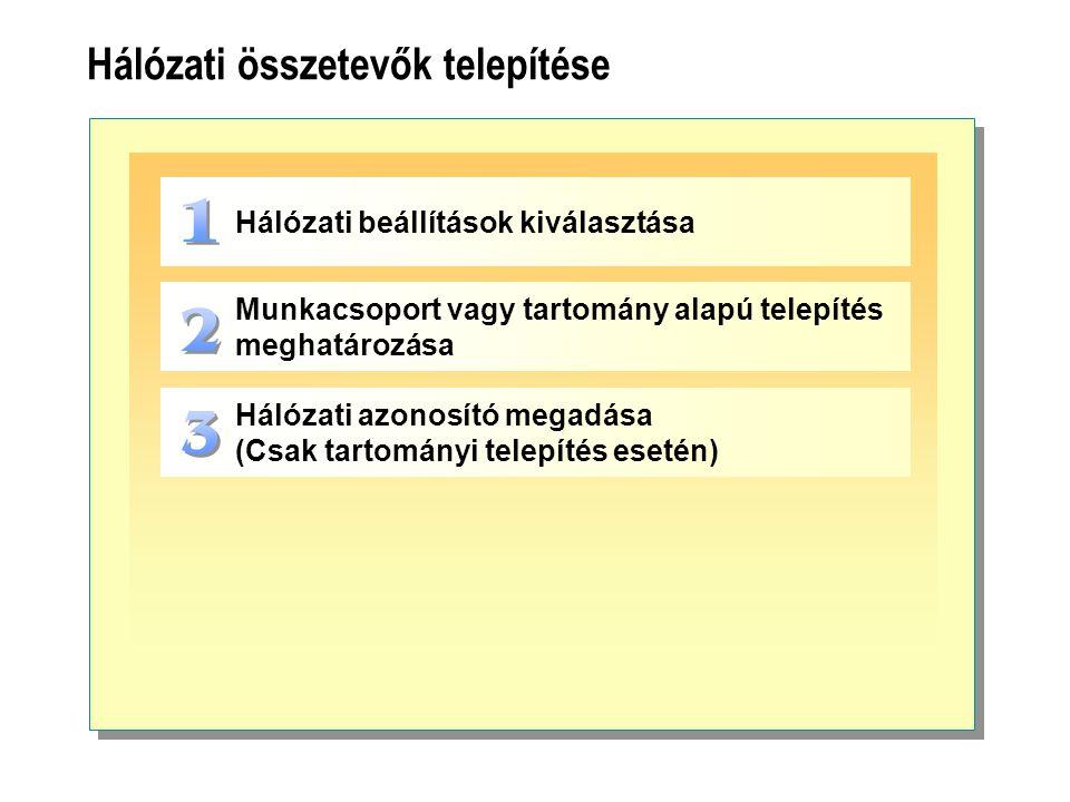 Hálózati összetevők telepítése Hálózati beállítások kiválasztása Munkacsoport vagy tartomány alapú telepítés meghatározása Hálózati azonosító megadása