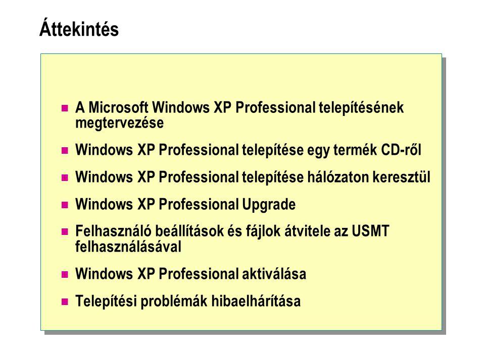 Áttekintés A Microsoft Windows XP Professional telepítésének megtervezése Windows XP Professional telepítése egy termék CD-ről Windows XP Professional