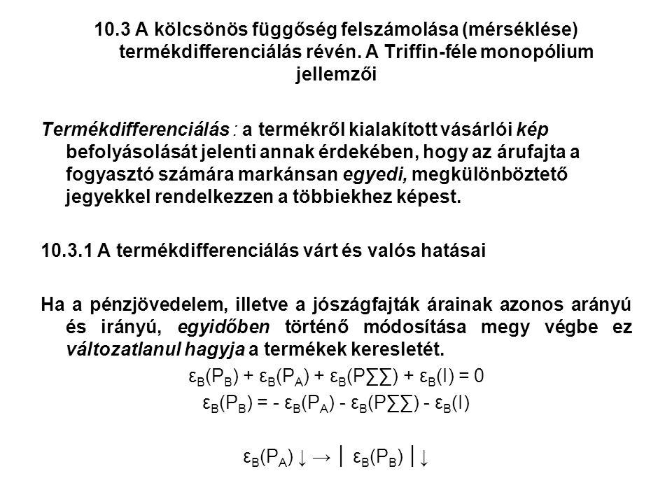 10.3 A kölcsönös függőség felszámolása (mérséklése) termékdifferenciálás révén.