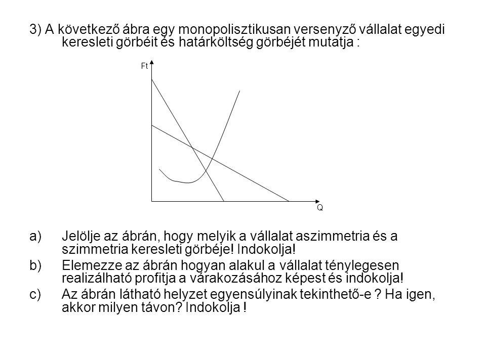 3) A következő ábra egy monopolisztikusan versenyző vállalat egyedi keresleti görbéit és határköltség görbéjét mutatja : a)Jelölje az ábrán, hogy melyik a vállalat aszimmetria és a szimmetria keresleti görbéje.