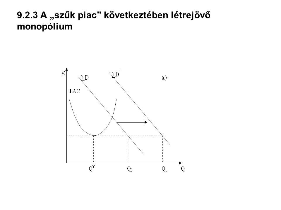 """9.2.3 A """"szűk piac következtében létrejövő monopólium"""