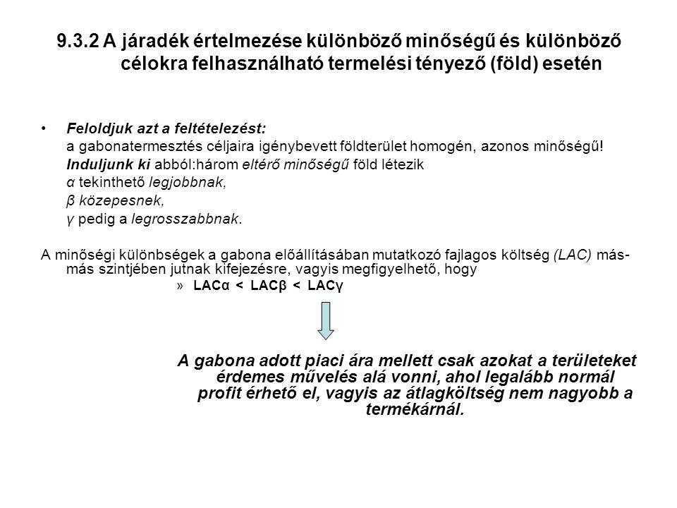 9.3.2 A járadék értelmezése különböző minőségű és különböző célokra felhasználható termelési tényező (föld) esetén Feloldjuk azt a feltételezést: a gabonatermesztés céljaira igénybevett földterület homogén, azonos minőségű.