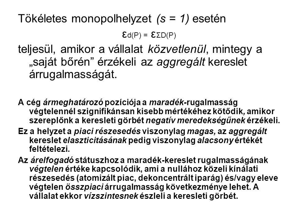 """Tökéletes monopolhelyzet (s = 1) esetén ε d(P) = ε ΣD(P) teljesül, amikor a vállalat közvetlenül, mintegy a """"saját bőrén érzékeli az aggregált kereslet árrugalmasságát."""