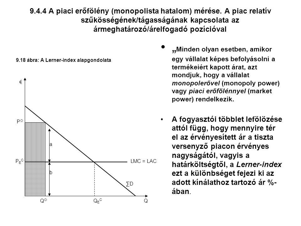 9.4.4 A piaci erőfölény (monopolista hatalom) mérése.