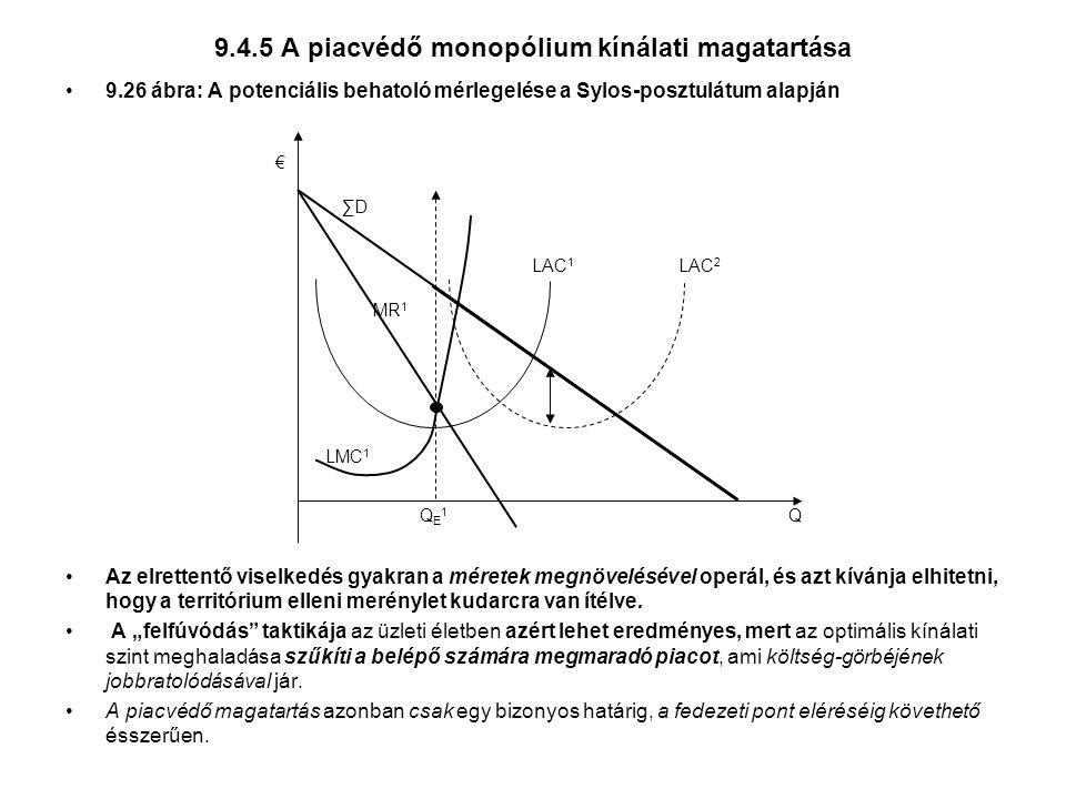 9.4.5 A piacvédő monopólium kínálati magatartása 9.26 ábra: A potenciális behatoló mérlegelése a Sylos-posztulátum alapján Az elrettentő viselkedés gyakran a méretek megnövelésével operál, és azt kívánja elhitetni, hogy a territórium elleni merénylet kudarcra van ítélve.