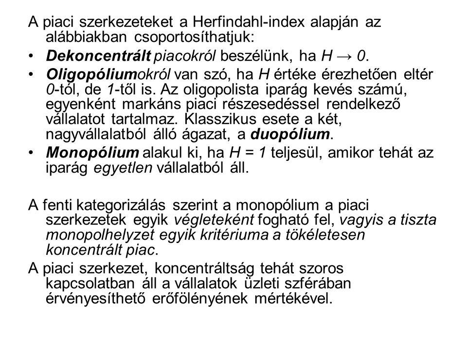 A piaci szerkezeteket a Herfindahl-index alapján az alábbiakban csoportosíthatjuk: Dekoncentrált piacokról beszélünk, ha H → 0.