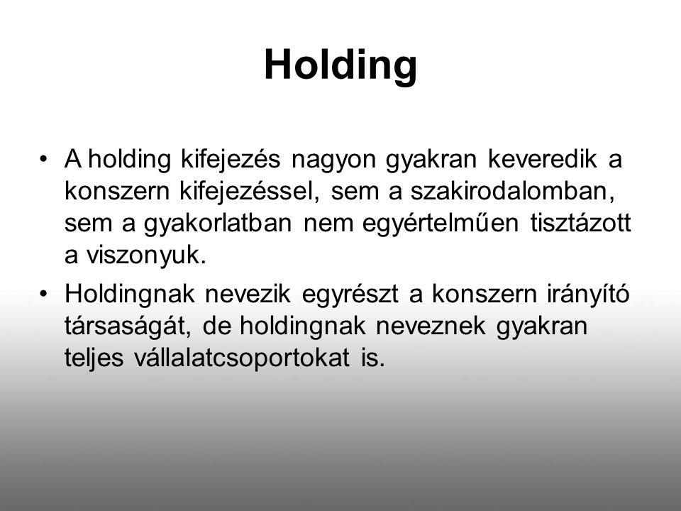 Holding A holding kifejezés nagyon gyakran keveredik a konszern kifejezéssel, sem a szakirodalomban, sem a gyakorlatban nem egyértelműen tisztázott a