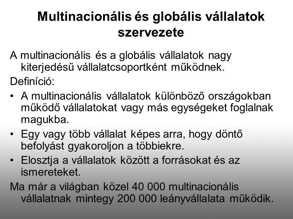 A multinacionális és a globális vállalatok nagy kiterjedésű vállalatcsoportként működnek. Definíció: A multinacionális vállalatok különböző országokba