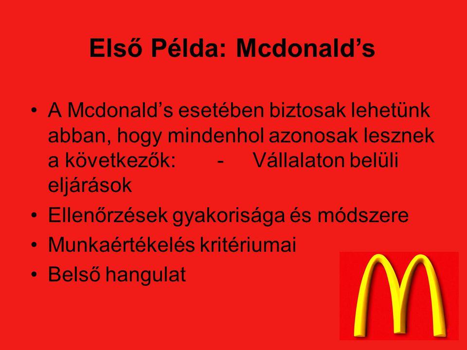 A Mcdonald's esetében biztosak lehetünk abban, hogy mindenhol azonosak lesznek a következők:- Vállalaton belüli eljárások Ellenőrzések gyakorisága és