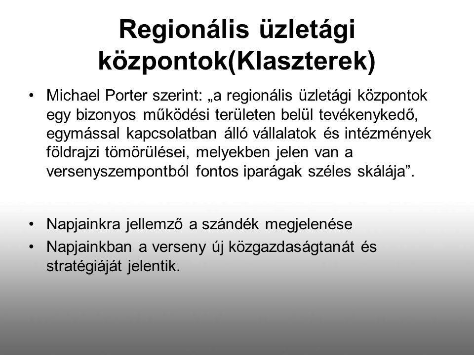 """Regionális üzletági központok(Klaszterek) Michael Porter szerint: """"a regionális üzletági központok egy bizonyos működési területen belül tevékenykedő,"""
